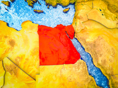 Egypt on model of 3D Earth with blue oceans and divided countries. 3D illustration.