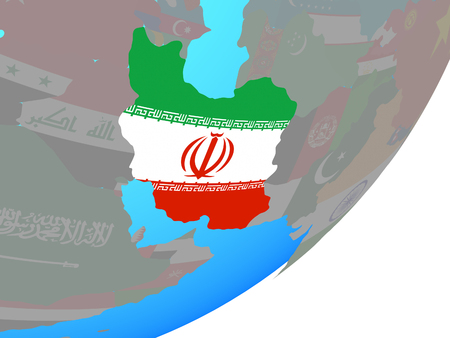 Iran with embedded national flag on blue political globe. 3D illustration. Stok Fotoğraf