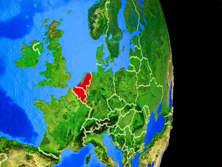 Benelux Union on realistic model of planet Earth with country borders and very detailed planet surface. 3D illustration.