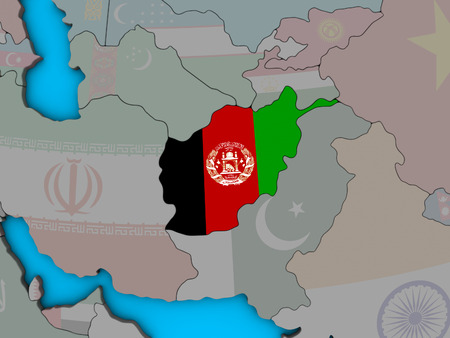 Afghanistan with embedded national flag on blue political 3D globe. 3D illustration. Stock Photo
