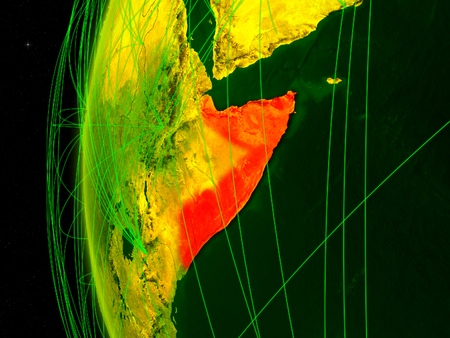 Somalia from space on digital model of Earth with international networks. Concept of digital communication or travel. 3D illustration. Stock Photo