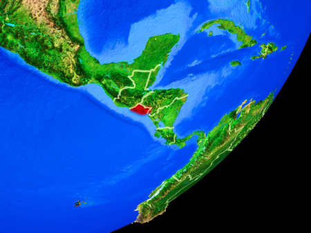 El Salvador on planet Earth with country borders and highly detailed planet surface. 3D illustration.