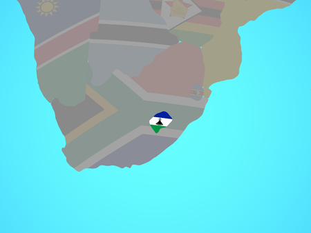Lesotho with national flag on blue political globe. 3D illustration.