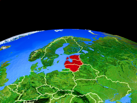 Baltic States on model of planet Earth with country borders and very detailed planet surface. 3D illustration.