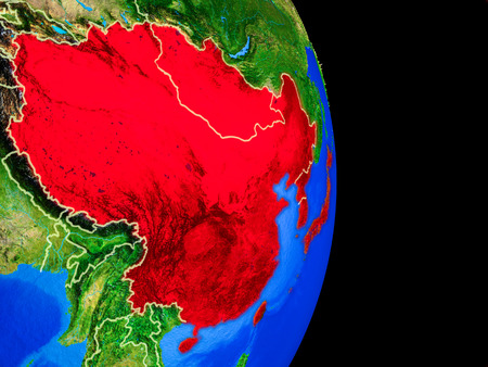 East Asia on realistic model of planet Earth with country borders and very detailed planet surface. 3D illustration.
