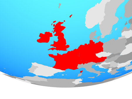 Western Europe on simple political globe. 3D illustration.