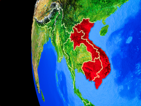 Indochina from space on realistic model of planet Earth with country borders and detailed planet surface. 3D illustration.