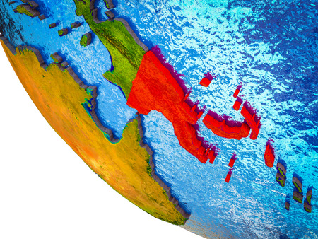 Papua New Guinea on model of Earth with country borders and blue oceans with waves. 3D illustration.