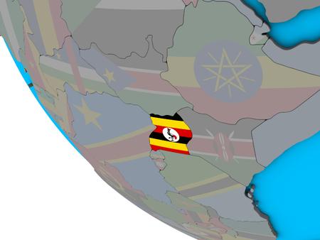 Uganda with embedded national flag on simple 3D globe. 3D illustration. Stockfoto