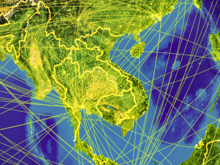 Indochina from space on Earth with country borders and lines representing international communication, travel, connections. 3D illustration. Reklamní fotografie