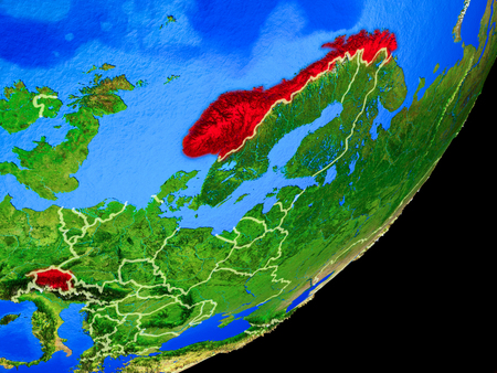 EFTA countries on planet Earth with country borders and highly detailed planet surface. 3D illustration.