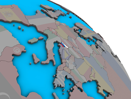 Slovenia with embedded national flag on simple blue political 3D globe. 3D illustration. 版權商用圖片