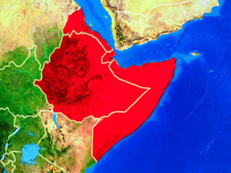 Horn of Africa from space on model of planet Earth with country borders and very detailed planet surface. 3D illustration. Stock Photo