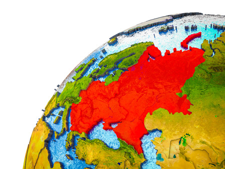 Eastern Europe on 3D Earth model with visible country borders. 3D illustration.