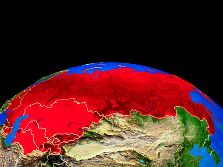 Former Soviet Union on model of planet Earth with country borders and very detailed planet surface. 3D illustration.