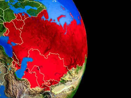 Ehemalige Sowjetunion auf realistischem Modell des Planeten Erde mit Ländergrenzen und sehr detaillierter Planetenoberfläche. 3D-Darstellung. Standard-Bild
