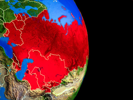Former Soviet Union on realistic model of planet Earth with country borders and very detailed planet surface. 3D illustration.