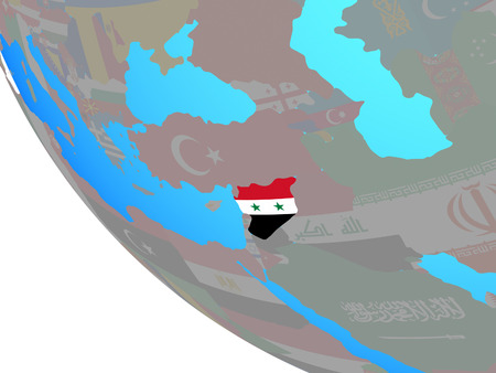 Syria with national flag on simple globe. 3D illustration.