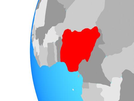 Nigeria on blue political globe. 3D illustration. Stock Photo