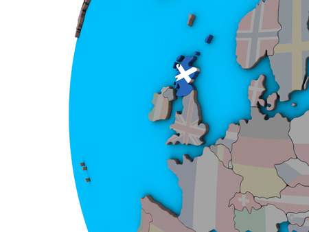 Scotland with national flag on blue political 3D globe. 3D illustration.