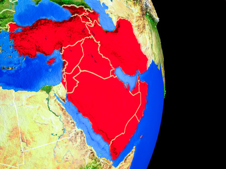 Western Asia on realistic model of planet Earth with country borders and very detailed planet surface. 3D illustration.