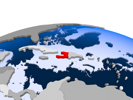 Haiti highlighted in red on political globe with transparent oceans. 3D illustration.