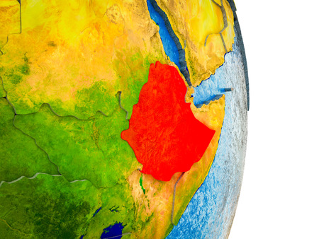 Ethiopia on 3D model of Earth with divided countries and blue oceans. 3D illustration. Banque d'images - 113366401