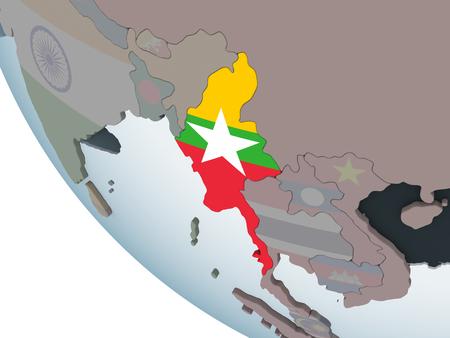 Myanmar on political globe with embedded flag. 3D illustration.