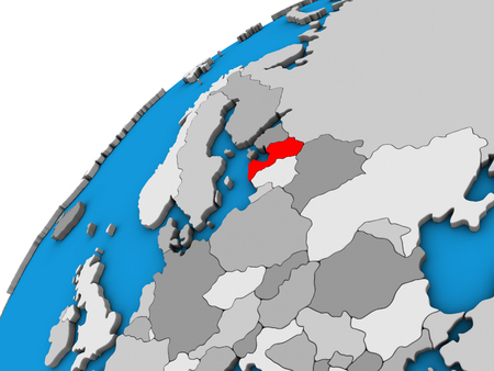 Latvia on 3D globe. 3D illustration.