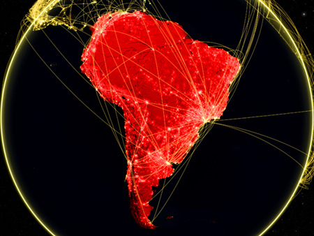 South America on dark Earth in space with networks representing air traffic or telecommunications. 3D illustration.