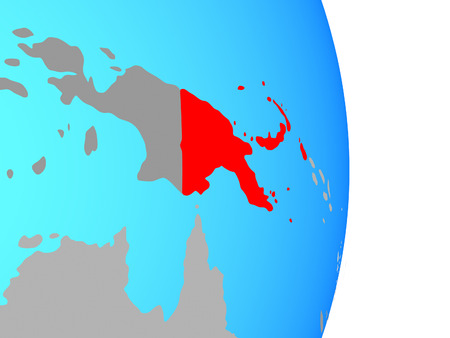 Papua New Guinea on simple political globe. 3D illustration.