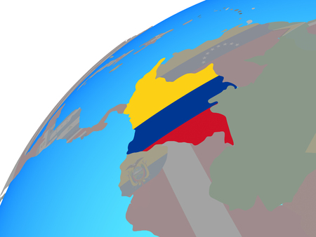Colombia with embedded national flag on globe. 3D illustration.