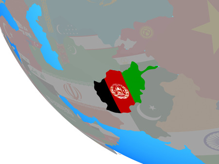 Afghanistan with national flag on simple globe. 3D illustration. Stock Photo