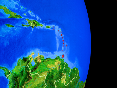 Caribbean on realistic model of planet Earth with country borders and very detailed planet surface. 3D illustration.