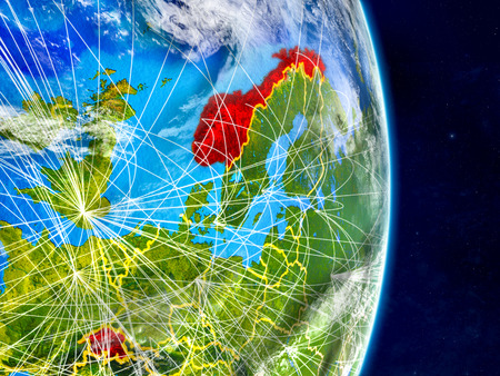 EFTA countries on planet Earth with networks. Extremely detailed planet surface and clouds. 3D illustration. Stock Photo