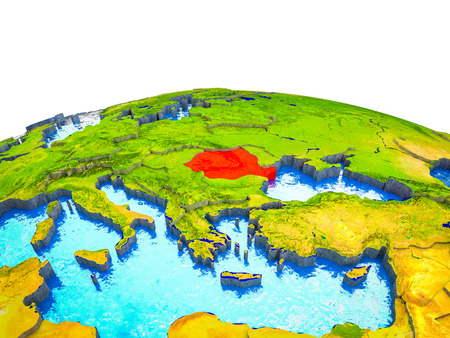 Romania on 3D Earth with visible countries and blue oceans with waves. 3D illustration.