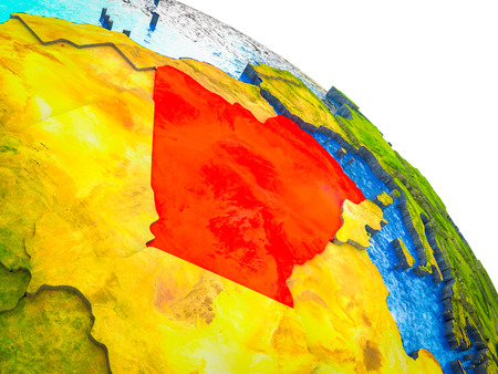 Algeria Highlighted on 3D Earth model with water and visible country borders. 3D illustration.