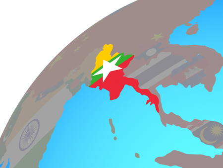 Myanmar with embedded national flag on globe. 3D illustration.