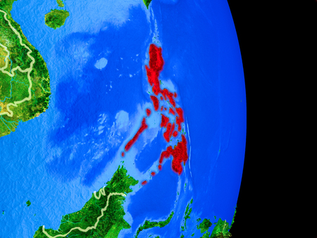 Philippines on realistic model of planet Earth with country borders and very detailed planet surface. 3D illustration. Stock Photo