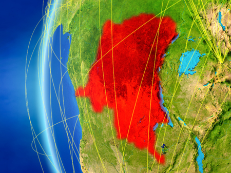 Dem Rep of Congo from space on model of Earth with international network. Concept of digital communication or travel. 3D illustration.