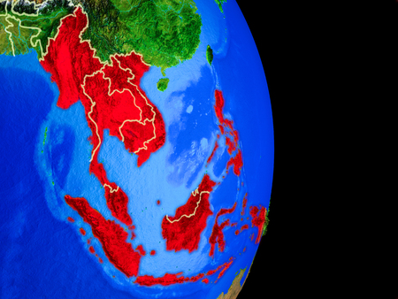 South East Asia on realistic model of planet Earth with country borders and very detailed planet surface. 3D illustration.