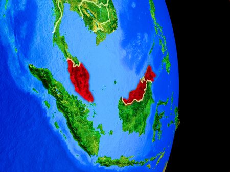 Malaysia on realistic model of planet Earth with country borders and very detailed planet surface. 3D illustration. Stock Photo