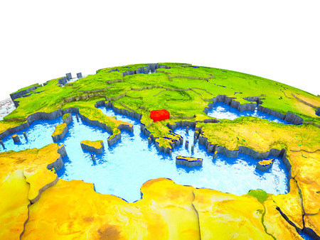 Macedonia on 3D Earth with visible countries and blue oceans with waves. 3D illustration. Stockfoto