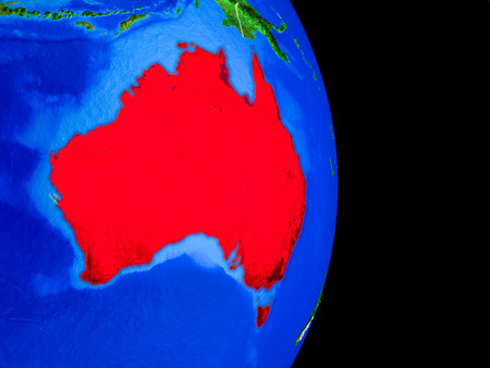 Australia on realistic model of planet Earth with country borders and very detailed planet surface. 3D illustration.