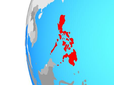 Philippines on blue political globe. 3D illustration. Stock Photo