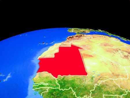 Mauritania on model of planet Earth with country borders and very detailed planet surface. 3D illustration.