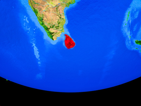 Sri Lanka from space on model of planet Earth with country borders. 3D illustration. Stock Photo