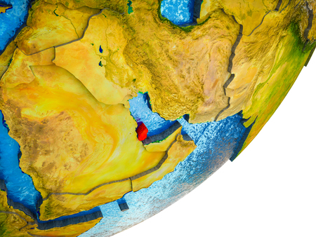 Qatar on 3D model of Earth with water and divided countries. 3D illustration. Stock Illustration - 113471429