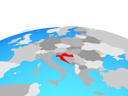 Croatia on political globe. 3D illustration. Imagens