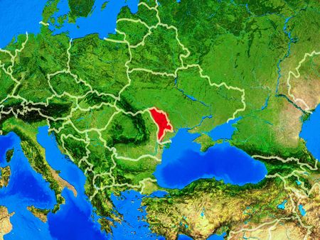 Moldova from space on model of planet Earth with country borders and very detailed planet surface. 3D illustration. Stock Illustration - 113471861